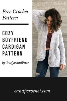 Pattern Cozy Boyfriend Cardigan Evelyn And Peter Crochet Free Cozy Boyfriend Crochet Pattern by Evelynandpeter- Part of Lion Brands 12 Weeks of Christmas 2019 freecrochet crochetcardigan freepattern cozysweater Best Picture For crochet sweater Cardigan Au Crochet, Crochet Shawl, Crochet Sweaters, Crochet Cardigan Pattern Free Women, Crochet Shrugs, Knit Cardigan Pattern, Crochet Vests, Foundation Half Double Crochet, Boucle Yarn