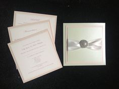 Subtle Pink & Mint Wedding Wallet Invitation