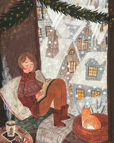 Art and illustration Christmas Illustration, Cute Illustration, Christmas Art, Vintage Christmas, Guache, Hygge, Pictures To Paint, Illustrations, Cat Art