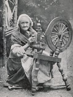 An Old Irishwoman at Her Spinning-Wheel Photographic Print by W. Lawrence at AllPosters.com
