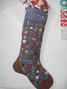 Columbia Minerva Denim Xmas Stocking Crewel / Embroidery PARTIAL Kit REPACKAGED  #ColumbiaMinerva