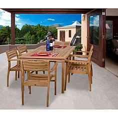 @Overstock - This 7-piece Savannah casual dining set brings you great quality and stylish design with its 100-percent teak wood construction. The included protective sealer works great against the effects of air pollution, salt air, and mildew growth.  http://www.overstock.com/Home-Garden/Savannah-7-piece-Teak-Dining-Set/6467858/product.html?CID=214117 $1,622.99