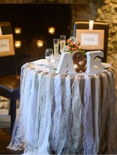 fun sweetheart table This country, rustic but shabby chic burlap and lace garland Shabby Chic Wedding Decor, Shabby Chic Stil, Shabby Chic Homes, Rustic Wedding, Wedding Reception, Wedding Ideas, Western Wedding Centerpieces, Antique Wedding Decorations, Hessian Wedding