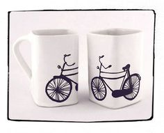coffee mug with hand-painted bicycles. so awesome. #futureproject
