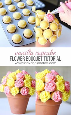 Flower Cupcake Bouquet Tutorial Vanilla Cupcake Recipe & Flower Pot Tutorial - perfect for Mother's Day!Vanilla Cupcake Recipe & Flower Pot Tutorial - perfect for Mother's Day! Mothers Day Desserts, Mothers Day Cake, Mothers Day Brunch, Mothers Day Cupcakes, Mothers Day Ideas, Cute Mothers Day Gifts, Mothers Day Decor, Cupcake Flower Bouquets, Flower Cupcakes