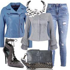 Outfit rock diverso dal solito ma sempre grintoso, con jeans slim fit abbinato a giacca di pelle light blue e a deliziosa maglietta a manica lunga grey marl che lascia le spalle scoperte. Il tutto si completa con francesine con tacco alto new dark grey, pochette grey con borchie e splendida collana in acciaio inossidabile.