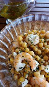 Las cosas de mi cocina: #ponunaensalada: Ensalada de garbanzos y langostinos con vinagreta de guindillas y cilantro