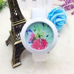 **Sold Out** White Silicone Strap Flower Face Watch  $35