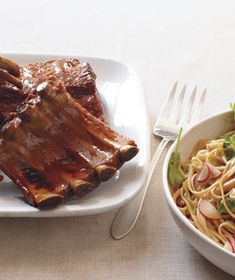 Slow Cooker BBQ Ribs & Udon Salad    But really it's all about the ribs!
