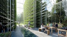 Residential life could soon be changing.  Clear thinking: A partial rendering of ReGen Village, including glass greenhouses where food will grow year-round.