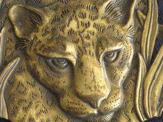 Goldtone Large Cheetah Head Brooch Designer by RicksVintagePlus, $22.00
