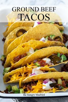 Classic family friendly tacos with easy homemade ground beef taco filling, comes together in about half an hour for a delicious weeknight dinner. #thehungrybluebird #classicbeeftacos #groundbeeftacos #tacotuesday #homemadetacomeat #beeftacofilling #fromscratch #weeknightdinners #easyrecipe #comfortfood Ground Turkey Enchiladas, Ground Beef Tacos, Beef Taco Seasoning, Mexican Food Recipes, Ethnic Recipes, Beef Recipes, Healthy Recipes, Ground Sirloin, Taco Fillings