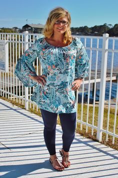 Bell Sleeve Paisley Print Tunic Top