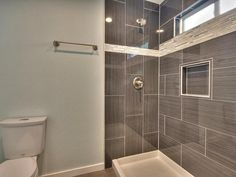 Contemporary 3/4 Bathroom with Ms international metro gris 12 in. x 24 in. glazed porcelain floor and wall tile, High ceiling
