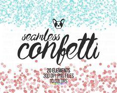 Confetti Clipart, Rainbow Glitter, Glitter Cliparts, Seamless Confetti, Scrapbooking Clipart, Design Supplies