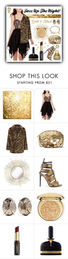 """""""Jazz Up The Night!"""" by shaheenk ❤ liked on Polyvore featuring Swat, New Look, MICHAEL Michael Kors, Uttermost, Tom Ford, Melissa Joy Manning, Christian Dior, David Jones, Vera Bradley and gold"""
