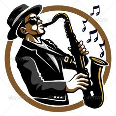 Jazzy Black blues and jazzy saxophone player mascot. Created: GraphicsFilesIncluded: VectorEPS Layered: No MinimumAdobeCSVersion: CS Tags: black illustrationClassy Jazzy Black blues and jazzy saxophone player mascot. Saxophone Instrument, Jazz Saxophone, Saxophone Players, Era Do Jazz, Musik Illustration, Jazz Art, Jazz Music, Indie Music, Kids Vector