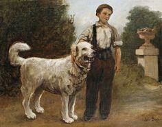 A boy and his dog by French  Jules Breton. Canvas Wall Art.  11x14 Print A boy and his dog by French Painter Jules Breton (1827-1906)