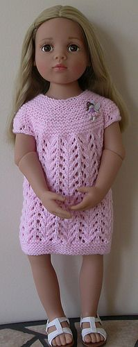 Eugenie Lace Dress for Gotz and other 18 dolls pattern by Pamela Elliott This is a very simple dress knitted all in one piece from the top down on straight needles. It has a garter stitch yoke and lace skirt. Knitting Dolls Clothes, Crochet Doll Clothes, Girl Doll Clothes, Doll Clothes Patterns, Girl Dolls, Diy Clothes, Ag Dolls, Dress Clothes, Skirt Pattern Free