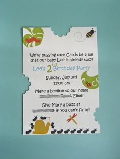 Cute but too $$ Buggin' Out Birthday Party Invitation  Set of 10 $20 by designedbyme. Printed