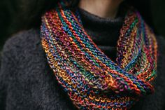 Get Cozy is a long and lovely cowl worked up in the round using only knit and purl stitches to create an interesting texture. It can be worn loose and open, or doubled around the neck to chase off chilly breezes.