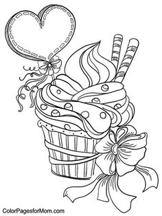 Printable Cupcake Coloring Pages. Collection of cupcake coloring pages. Cupcake Coloring Pages, Valentines Day Coloring Page, Heart Coloring Pages, Cute Coloring Pages, Adult Coloring Pages, Free Coloring, Coloring Sheets, Coloring Pages For Kids, Coloring Books
