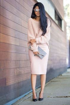 Blush powder pink pencil skirt and chunky sweater pumps, shades, clutch, long loose waves. Perfect