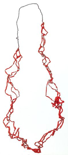 LIANA PATTIHIS-CY-UK  Necklace: Coral Red Hand Knitted 2010  Silver Trace Chain, Enamel  88 cm