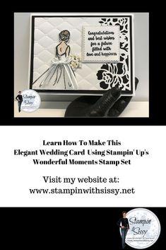 Super simple & elegant wedding card using Stampin' Up's Wonderful Moments stamp set.