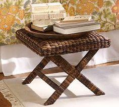My British Room Idea: Pottery Barn Seagrass X-Stool, Havanan Dark Furniture Upholstery, Wicker Furniture, Home Furniture, Cottage Furniture, Wicker Chairs, Furniture Ideas, Beach Living Room, Living Room Bench, Barn Living