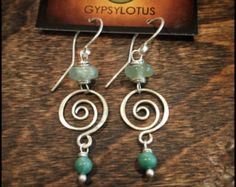 Turquoise & Rutilated Quartz Swirl Hoop Earrings by GypsyLotusCo