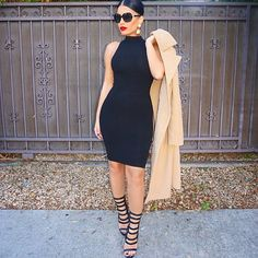 #idontgettired #OOTD Dress @hotmiamistyles  Coat @missguided Shoes @lolashoetiquedolls Sunglasses @channelofficial  Earrings H&M #glamrezy