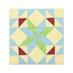 Quadrille No 9 Decorative patchwork block Colorful modern wall hanging artwork Yellow Blue Green Red by ChristineGrenier on Etsy