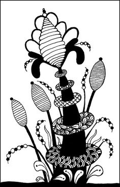 Zentangle, the use of repetitive patterns to create art Tangle Doodle, Tangle Art, Doodles Zentangles, Zen Doodle, Zentangle Patterns, Doodle Art, Bird Drawings, Doodle Drawings, Flores Art Nouveau