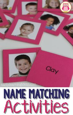 Make your own name matching game - a great beginning of year activity for preschool, pre-k, and kindergarten. The article includes templates, directions to help you make your own name matching memory match game, and ideas for name activities. Kindergarten Names, Preschool Names, All About Me Preschool, Preschool Literacy, Kindergarten Activities, Classroom Activities, Preschool Activities, Preschool First Week, Beginning Of Kindergarten