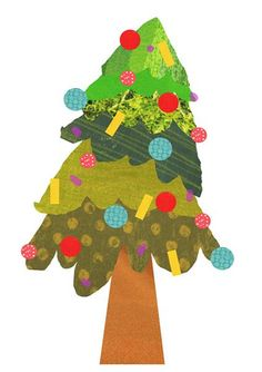 painted paper holiday tree Christmas card