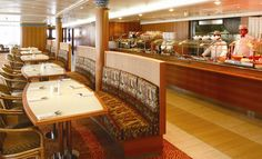 Deck 11: Bolero Buffet Restaurant (404 seats) Costa Victoria, Buffet, Deck, Restaurant, Table, Furniture, Home Decor, Decoration Home, Room Decor
