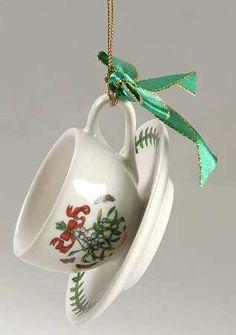 Portmeirion Botanic Garden Mistletoe tea cup & saucer ornament