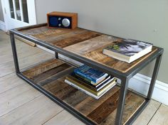 Modern industrial wood & steel bricklayers style coffee table featuring reclaimed barnwood, 18 x 40 via Etsy