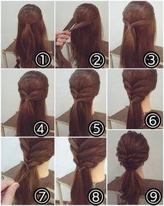 """313 Likes, 1 Comments - nest hairsalon (@nest_hairsalon) on Instagram: """"ローポニーアレンジ ① トップを結びます。 ② その下の部分を両側からとり… ③ 後ろで結びます。 ④ サイドの髪を両側からとり同じく後ろで結びます。 ⑤ 耳の後ろの髪を両サイドとり後ろで結びます。…"""""""
