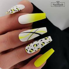 Chic Nails, Stylish Nails, Trendy Nails, Swag Nails, Neon Green Nails, Neon Nails, Yellow Nails, Neon Yellow, Neon Nail Colors