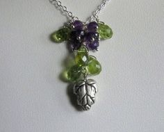 Grape Bunch Necklace Silver Peridot Amethyst by AListDesigns, $49.00