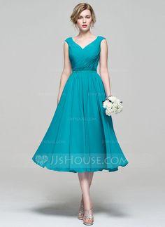 A-Line/Princess V-neck Tea-Length Chiffon Bridesmaid Dress With Ruffle (007074187)