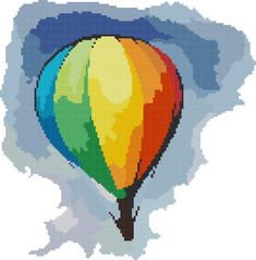 hot air balloon cross stitch image