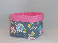 Retro Gray, Pink and Blue Floral Fabric With Pink Polka Dot Liner For Storage Or Gift Giving