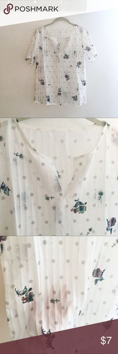 Sheer white blouse Sheer white blouse with subtle polka dots and flowers. Never worn.  Perfect for work or brunch. Tops Blouses