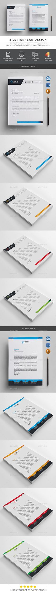Letterhead Template - Stationery Print Templates Download here: https://graphicriver.net/item/letterhead-template/19666976?ref=classicdesignp