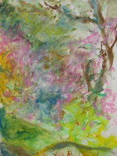 Rhododendrons at Cragside. Oil pastel in sketch book June Fine Arts Degree, Over The Years, My Arts, June, Sketch, Pastel, Painting, Oil, Image