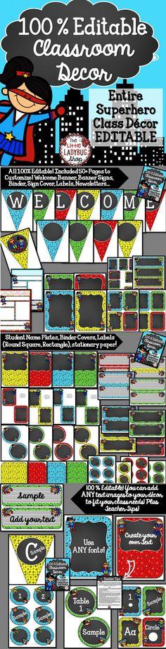 Classroom Décor: Superhero Theme {100% Editable} Classroom Decoration / Classroom Design /Classroom Set Bundle A complete Classroom Décor Set all Editable options to meet your classroom Needs!