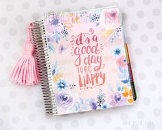 An illustrated cover for the Erin Condren Life Planner, based on original watercolor artwork and hand lettering.  Available the front cover,